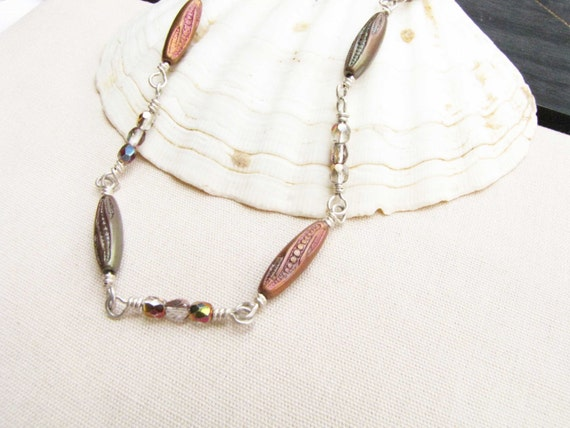 Copper Green Wire Wrapped Necklace Sterling Silver Crystal Beads Iridescent handmade jewelry formal casual wear #17