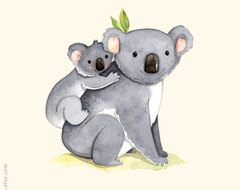 kids room art, Alphabet animals, Watercolor painting, Koala print, Mother and baby koala, K is for Koala, Koala illustration