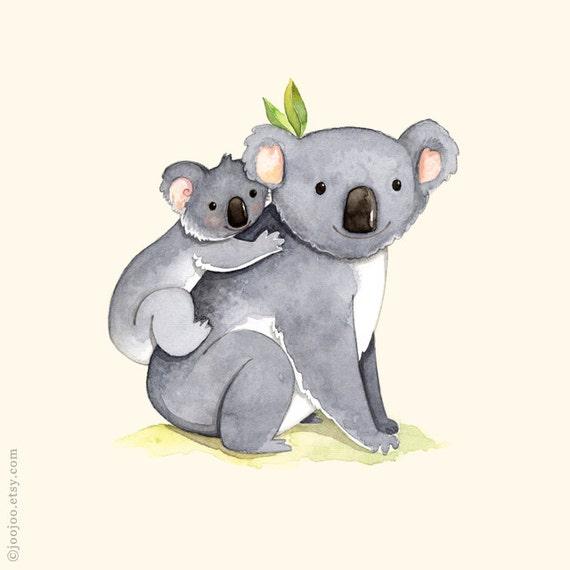 kids room art Alphabet animals Watercolor painting Koala
