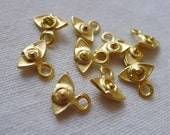 10 Mini Eye Charms, Gold Plated