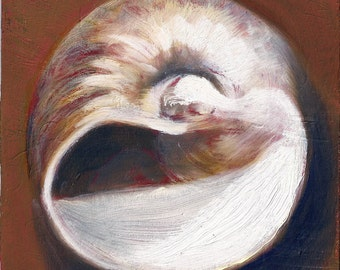 Framed Original Small Oil Painting Moon Fossil Shell