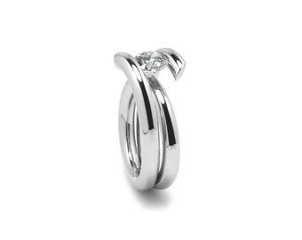 Contemporary 1ct, 1.5ct, 2ct White Sapphire Ring High Tension Setting in Stainless Steel
