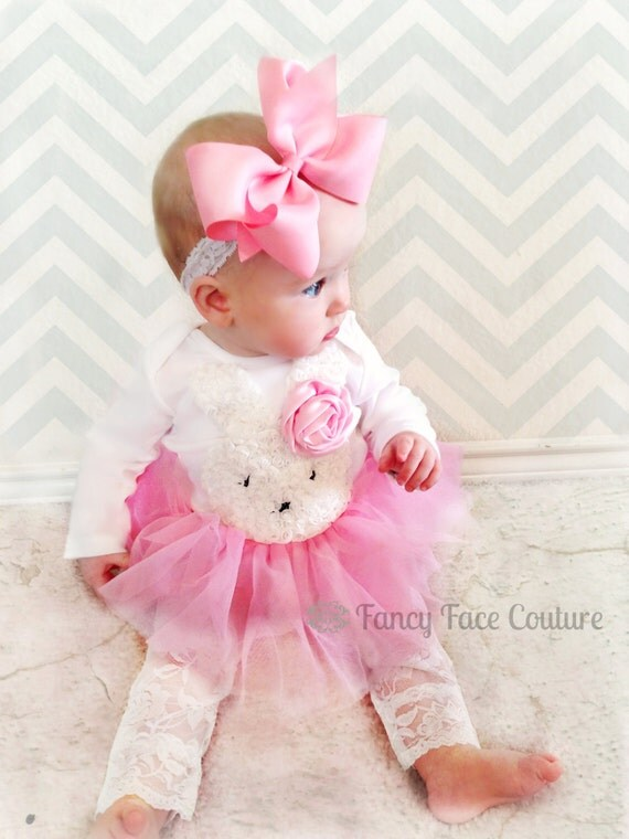 Baby Girl Newborn Take Home Outfit Pink by FancyFaceCouture