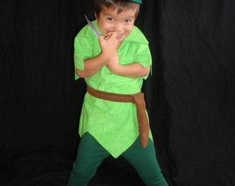 Peter Pan costume custom made Tyrolean felt hat red feather faux suede green tunic green tights alpine hat ANY CHILD SIZE
