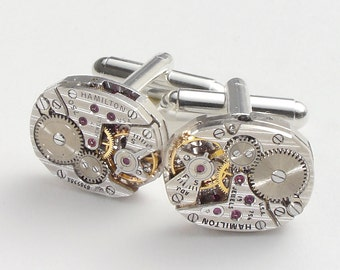 Steampunk cufflinks vintage watch movements gears Hamilton pinstripe wedding Groom Gift silver cuff links men jewelry Steampunk jewelry 2592