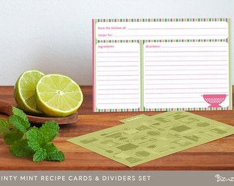 Bridal shower recipe cards diy prin table with iders set of 8