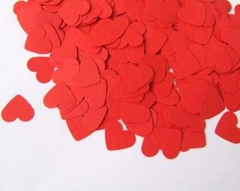 Red hearts - Table confetti hearts - Wedding decoration - Red paper hearts - Wedding hearts - Red die cut hearts - Medium sized hearts