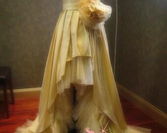 Champagne Wedding Dress with High Low Hem Light Gold Wedding Dress
