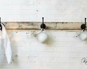 """Reclaimed Wooden Coat Rack - Coat Hook, Jewelry or Key Wall Hook - Created from Antique Salvaged Wood - 48"""""""