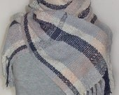 Handwoven Cotton Scarf - Hand-dyed - Blue, peach, purple, gray, natural
