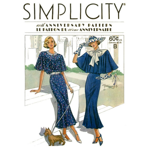 1920s Dress Pattern Simplicity 9360 Uncut Art Deco Capelet Sleeves Evening Gatsby Dress Retro Reissue 1980s Womens Vintage Sewing Patterns