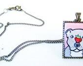 Pitbull Jewelry Dog Pet Necklace Pendant - Hand Painted Art Jewelry Pendant