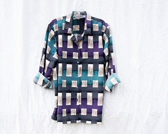 GEOMETRIC PRINT BLOUSE Womens long sleeve vintage 1990's multi color abstract purple teal grey women geometric oversized tunic top shirt