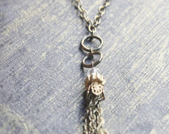 """Long Vintage Necklace FOB Gold Filled Chain Tassle and  Clear Bead Drop  on 26"""" Antiqued Chain with Lobster Claw"""