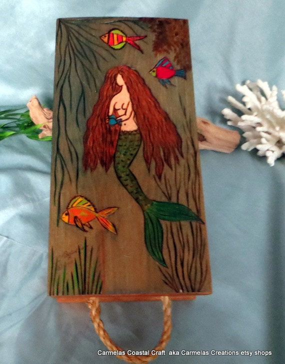Mermaid Decor Wood Storage Box Hand Crafted One Of A