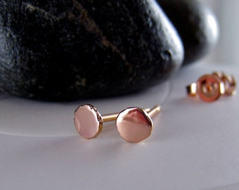 14k Rose Gold Stud Earrings, Small Pink Gold Earrings Studs, Modern Stud Earrings 3mm Rose Gold Earrings, Tiny Gold Studs