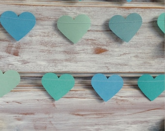 3 Metres Tropical Collection Ocean Aqua Azure Blue Large Heart Garland Shabby Chic beach wedding decoration, baby shower decoration