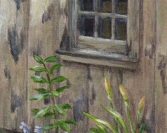 Original Acrylic Painting Landscape, Small Painting of an Old Building, Country Life for Home Decor