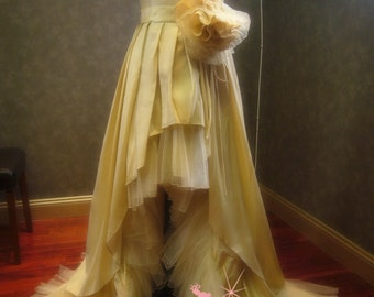 Champagne Wedding Dress with High Low Hem Light Gold Bridal Gown