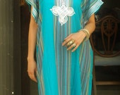 February Spring Trend Resort Caftan Kaftan Bedoin Style-Turquoise- loungewear,beachwear, gift for moms and to be moms, eid, Ramadan