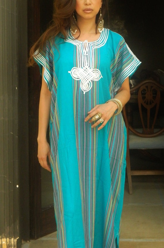 Trend Clothing Gifts-Turqouise Caftan Kaftan loungewear, as beachwear,beach cover ups, maternity wear, gifts,  beach weddings