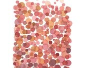 Abstract watercolor painting / watercolor print pink dots red nursery room decor