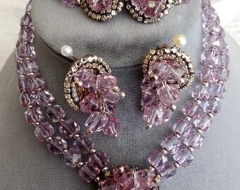 Haskell Style Amethyst Choker Necklace Bracelet Earrings Set