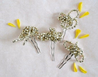 Saturn Ring - light gold haircomb, in space style headpiece
