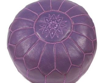 Set of 2 Moroccan Designer luxury Leather Poufs Hand Stitched and Embroidered