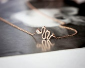 snake necklace, rose gold stainless steel