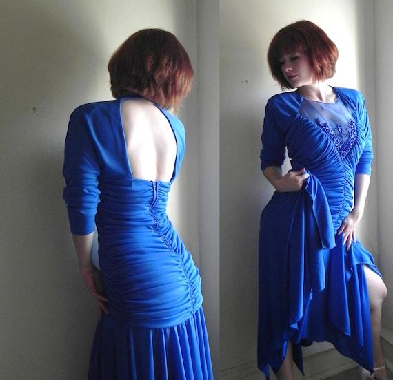 Cascading Sequin Mermaid Dress // Keyhole Back & Ruched Bodice // Asymmetric Hemline // Stellar Party Dress