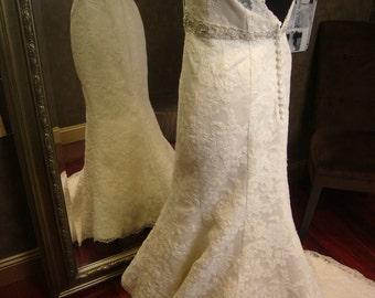 Keyhole Wedding Dress with Cap Sleeves and Crystallized Sash Backless Custom Made to Your Measurements