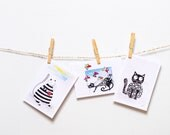 Blank card set of 3 cards Birthday card Friend Black Greeting cards Funny Greeting cards Cat lovers Gift for her Stationary gift set