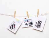 FREE SHIPPING funny greeting cards set of 3 Funny birthday card for friend - funny cat card for her - cat owner cat mum - girlfriend card