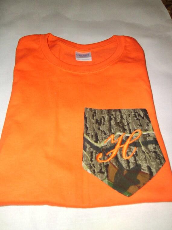 Men's or Women's  Custom Mossy Oak Break Up Camo T-Shirt Orange Monogrammed Pocket short sleeve