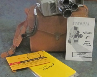 Sekonic Elmatic 8 mm Film Video Camera with Original Leather Case and Booklets 1960 Era