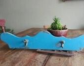 Old Wood Turquoise hook coat rack wall hanger