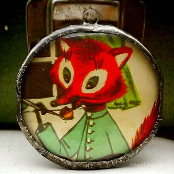 Storybook Charm 10--soldered glass pendant with vintage storybook images