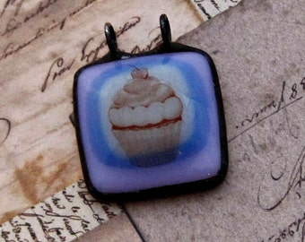 Simple Pendant | Cupcake | Mauve and Pink | Fused Glass