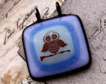 Simple Pendant | Pink & Mauve | Owl | Fused Glass