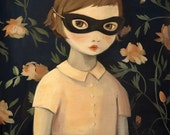 Masked Evaline with Floral Wallpaper / Large Print 11x14