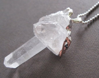 Rough Raw Crystal Quartz Druzy Sterling Dipped Pendant