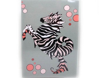 Passport Cover - Coral Zebra Seahorse - passport holder fits US passports - Choose Coral or Green Sea Horse