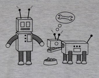 Robot & Robot Dog Grey Mens/Unisex Tee