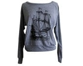 Pirate Ship Raglan Sweatshirt - American Apparel SOFT vintage feel - Available in sizes S, M, L