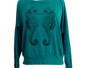 Womens SEAHORSE Sweater - American Apparel Raglan Pullover sweater - (Available in sizes S, M, L)