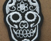 Black and White Day of the Dead Skull Patches Felt Sew On
