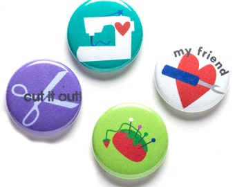 Sewing Tool Theme Buttons, 1 inch pin back, My Friend Seam Ripper, Set of 4