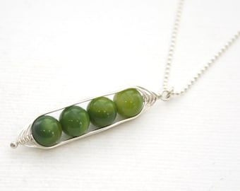 Peapod necklace. Four peas in a pod with green mother of pearl. Peapod jewelry, gift for mom, sister, or best friend. Mothers day gift