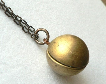 Vintage Brass Sphere Locket Globe Necklace Round Ball Patina Chain
